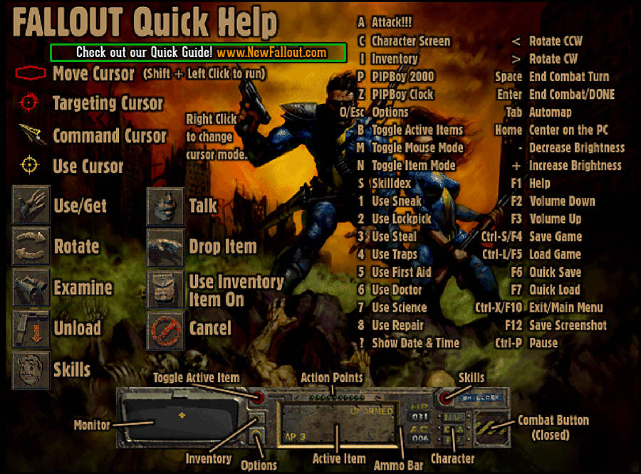 fallout 1 keyboard controls