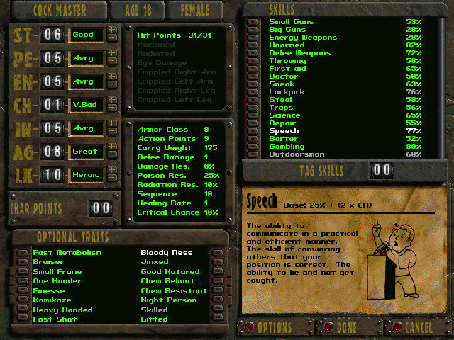 fallout 1 quick start creating a new character