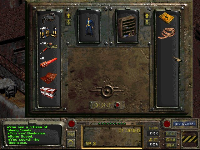 fallout 1 quick start how to open inventory