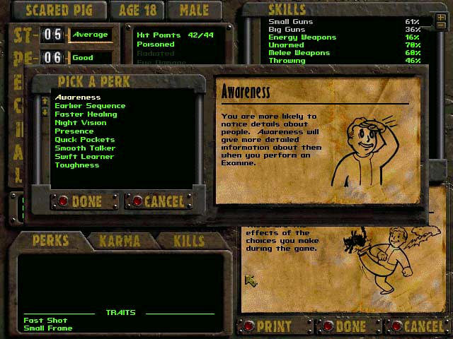 fallout 1 quick start perks to choose